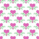Watercolor seamless pattern with victorian heart. And flourishes on the white background, aquarelle.  Vector illustration. Hand-drawn decorative element useful Stock Photo