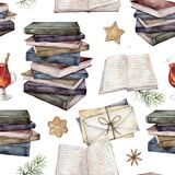 Watercolor seamless pattern with vintage books, envelopes and mulled wine. Hand painted stack of books isolated on white