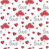 Watercolor seamless pattern in vintage style love lettering balloon