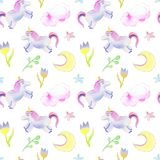 Unicorns, moon, flowers pattern vector illustration