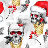 Watercolor seamless pattern waffle cones with sketchy skulls in Santa hat, snowfalkes, leaves. . Cretive New Year Stock Image