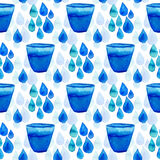 Watercolor seamless pattern with water drops and glass. Hand paint background Royalty Free Stock Photography
