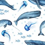 Watercolor seamless pattern with whales, jellyfish, sperm whale, narwhal. royalty free illustration