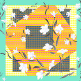 Watercolor seamless pattern white flowers on a dark patchwork background Royalty Free Stock Image