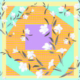 Watercolor seamless pattern white flowers on a light patchwork background Stock Image