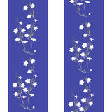Watercolor seamless pattern white flowers on a white and blue background Stock Photo