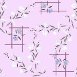 Watercolor seamless pattern white and gray flowers on a lilac background Royalty Free Stock Photo