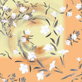 Watercolor seamless pattern white and gray flowers on a yellow background Stock Photos