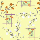 Watercolor seamless pattern white and orange flowers on yellow background Stock Image
