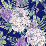 Watercolor seamless pattern with a wild flowers Stock Photo