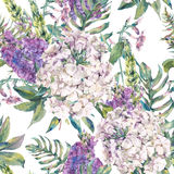 Watercolor seamless pattern with a wild flowers Stock Image