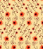 Watercolor seamless pattern with wild orange flowers, brawn branches and red berries on yellow background. Fine bright and elegant pattern for backgrounds Royalty Free Stock Photos