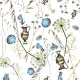 Watercolor seamless pattern with wildflowers, blue butterflies, seashells and antique vase on a white background. Abstract and vintage stock illustration