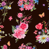 Watercolor seamless pattern with wildflowers and roses Royalty Free Stock Photos