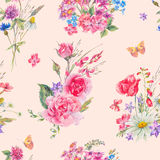 Watercolor seamless pattern with wildflowers and roses Royalty Free Stock Photo