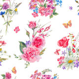 Watercolor seamless pattern with wildflowers and roses Stock Photo