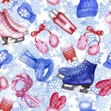 Watercolor Seamless Pattern With Girl And Boy Ice Skating Access Stock Photos