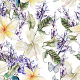 Watercolor Seamless Pattern With Hibiscus  Flowers And Lavender.