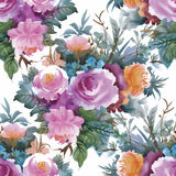 Watercolor Seamless Pattern With Roses. Background For Web Pages, Wedding Invitations, Save The Date Cards. Royalty Free Stock Photos