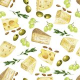 Watercolor Seamless Pattern With Yellow Cheese Royalty Free Stock Image