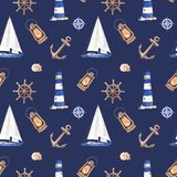 Beautiful watercolor texture for nautical design and summer travel royalty free illustration