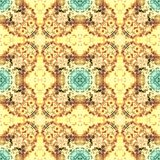 Watercolor seamless pattern in yellow and blue tones Royalty Free Stock Images
