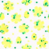 Seamless pattern with yellow flowers and eggs, dots on a white background. royalty free illustration