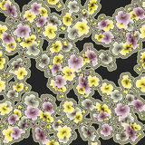 Yellow pink gray flowers on black background pattern seamless watercolor. Yellow, pink and gray flowers on a black background pattern seamless watercolor Stock Photos