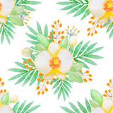 Watercolor seamless pattern with yellow orchids Stock Photos