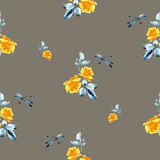 Watercolor seamless pattern with yellow roses. Watercolor seamless pattern with yellow roses, blue leaves and dragonfly on grey background.  Fine pattern for Royalty Free Stock Photography