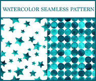 Watercolor seamless patterns set with emerald circles and stars. Royalty Free Stock Image