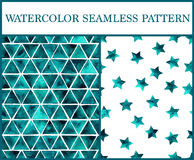 Watercolor seamless patterns set with emerald triangles and star Royalty Free Stock Photography