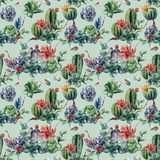 Watercolor seamless patttern with cactuses and many flowers. Hand painted cereus, succulent, berries, branch and leaves Stock Photo