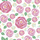 Watercolor seamless roses pattern. On white background Royalty Free Stock Photography
