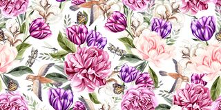 Watercolor seamless spring pattern with peony, tulip, cotton and birds.