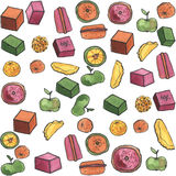 Watercolor seamless sweets pattern Stock Images