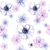 Watercolor seamless texture of anemone flowers and vegetation Royalty Free Stock Photo