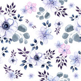 Watercolor seamless texture of anemone flowers and vegetation Royalty Free Stock Images