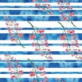 Watercolor seamless texture, background. horizontal strips, brush. Beautiful stroke, splash, abstract spot. stock illustration
