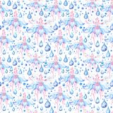 Blue Rain Flower Pattern Royalty Free Stock Images