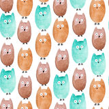 Watercolor seamless texture with owls. Watercolor seamless pattern with different owls Stock Image