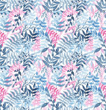 Watercolor Seamless Texture WithDeep Blue Ferns and Pink Leaves Royalty Free Stock Photos