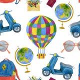 Watercolor seamless travel illustration. Handmade watercolor illustration royalty free illustration