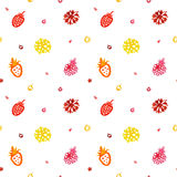Watercolor seamless vector pattern (multicolored). Berries and flowers. Happy Birthday pattern. Stock Photo