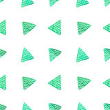 Watercolor seamless vector triangle pattern (turquoise green). Abstract geometric pattern. Stock Photos