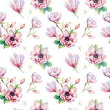 Watercolor seamless wallpaper with  magnolia flowers, leaves. Royalty Free Stock Images