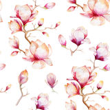 Watercolor seamless wallpaper with  magnolia flowers, leaves. Stock Photos