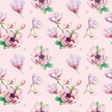 Watercolor seamless wallpaper with  magnolia flowers, leaves. Royalty Free Stock Photography