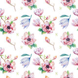 Watercolor seamless wallpaper with  magnolia flowers, leaves. Royalty Free Stock Image