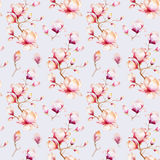 Watercolor seamless wallpaper with  magnolia flowers, leaves. Stock Photography